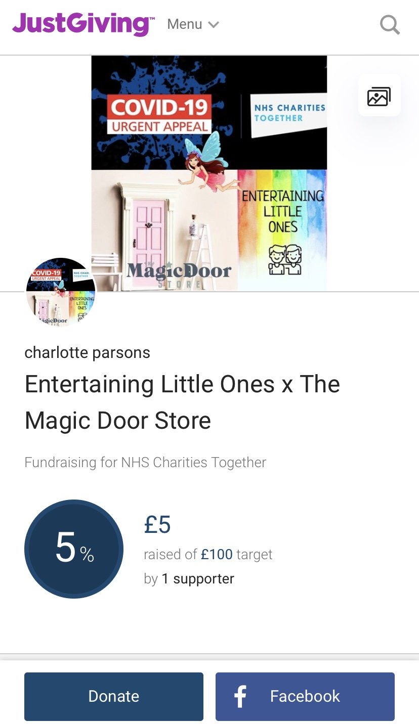 Just Giving Page – NHS – Chance to Win a Pink Fairy Door